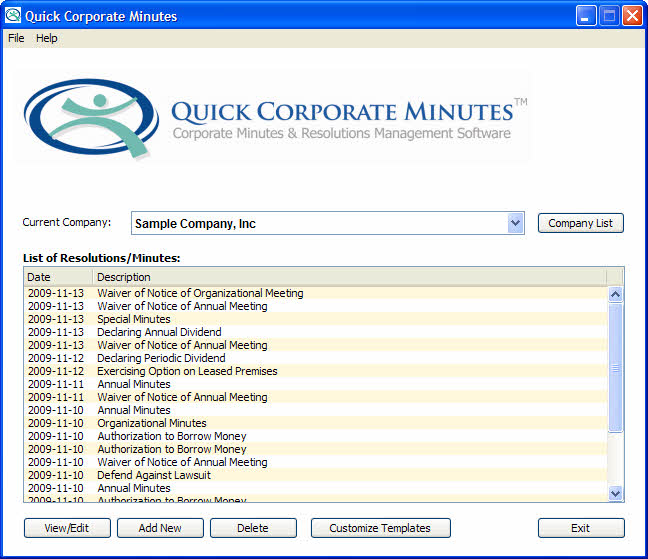 Click to view Quick Corporate Minutes screenshots